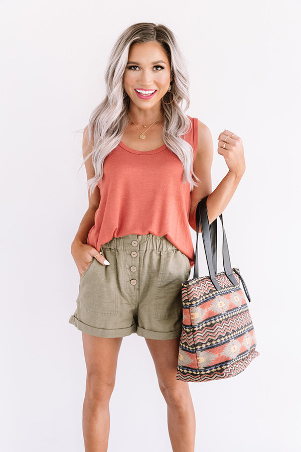 Travel Muse Knit Tank in Rust
