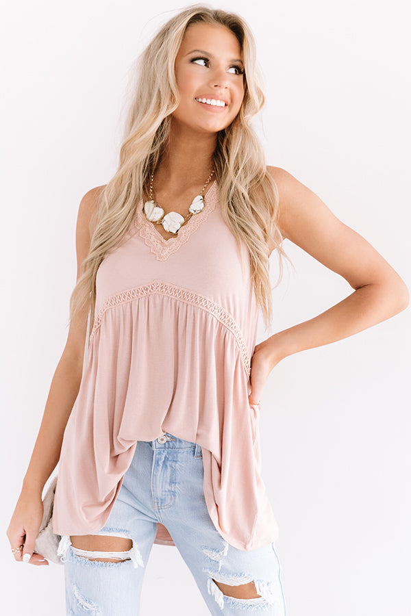 Vino By The Sea Babydoll Top in Latte