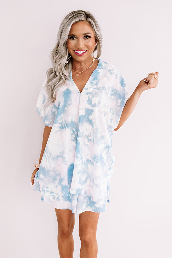 Ready, Set, Obsessed Tie Dye Shift Top In Sky Blue
