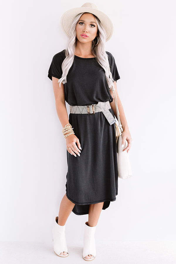 Huntington Beach Happy Hour Midi In Black