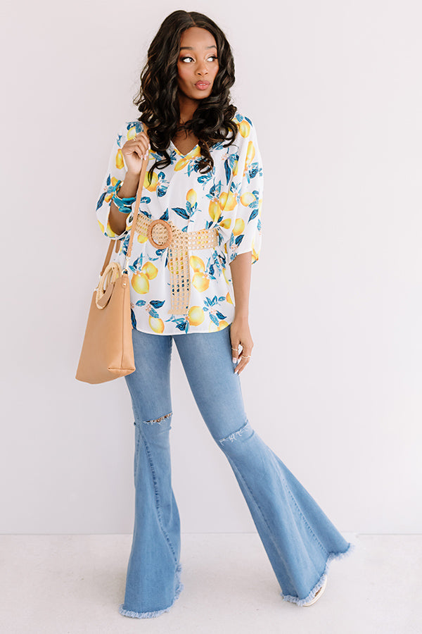 At The After Party Lemon Print Shift Tunic