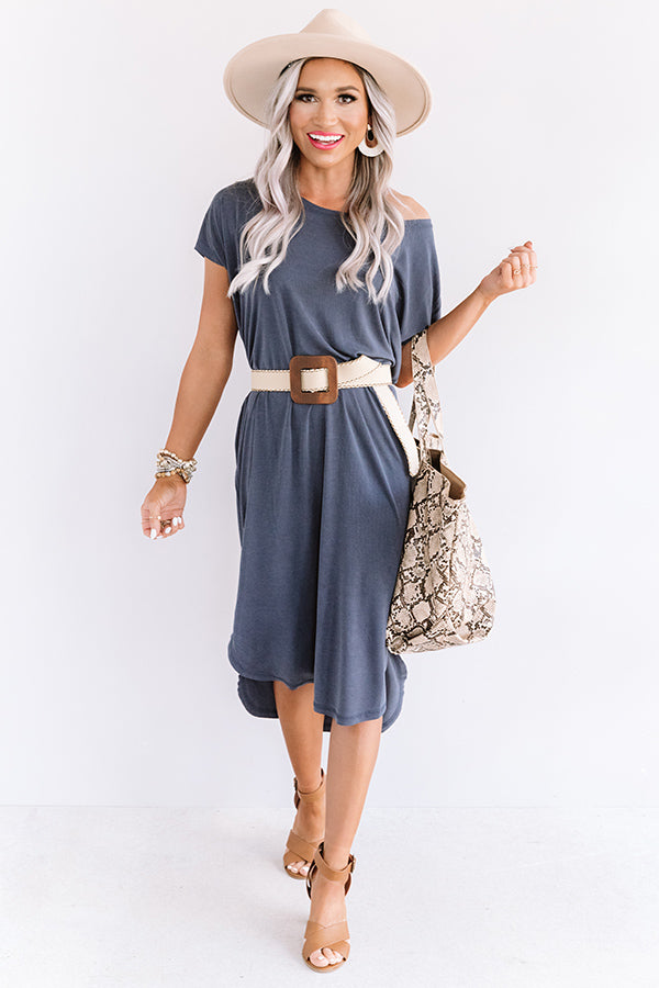 Huntington Beach Happy Hour Midi In Navy