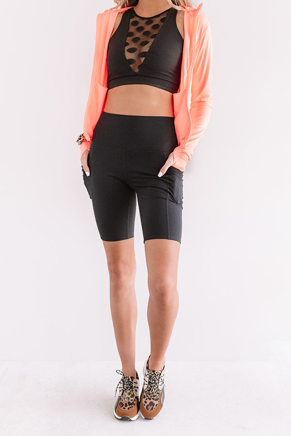On The Right Track High Waist Active Shorts in Black