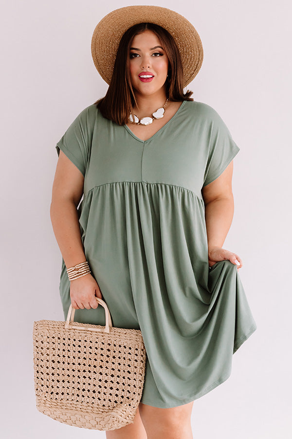 Dunes And Daydreams Babydoll Dress In Sage