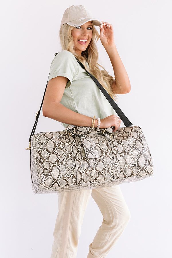 Sweetest Travels Snake Print Weekend Tote