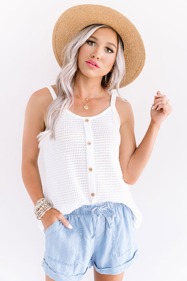 Patio Pretty Waffle Knit Tank In White