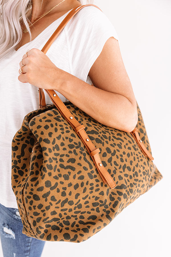 New Crush Canvas Leopard Tote In Brown