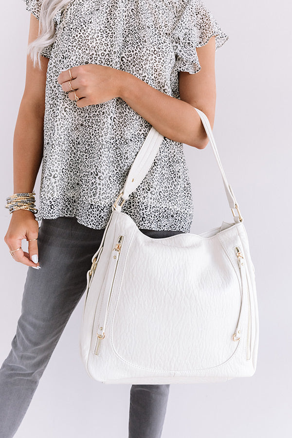City Chic Faux Leather Tote In Stone