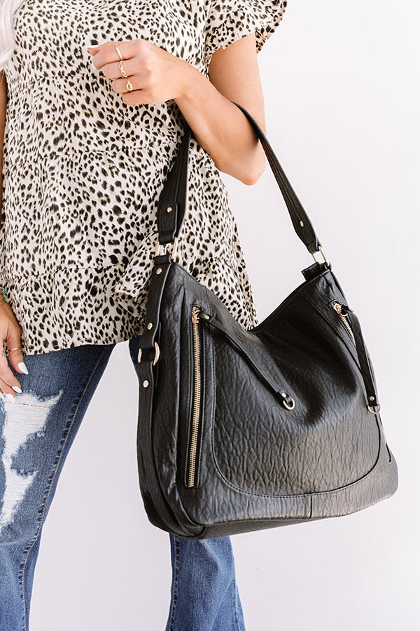City Chic Faux Leather Tote In Black