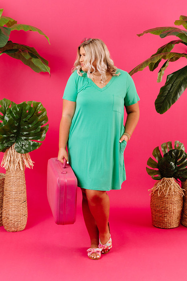 Summertime Vibes T-Shirt Dress In Kelly Green