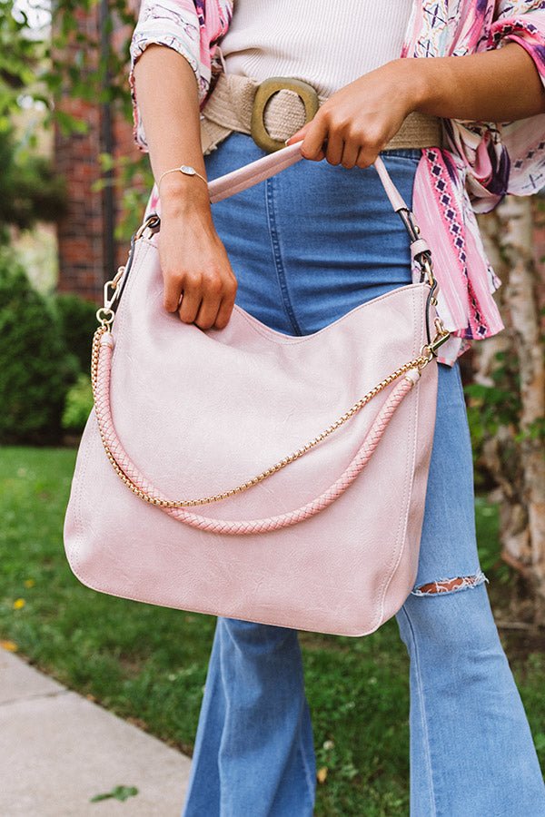 French Travels Faux Leather Tote in Blush