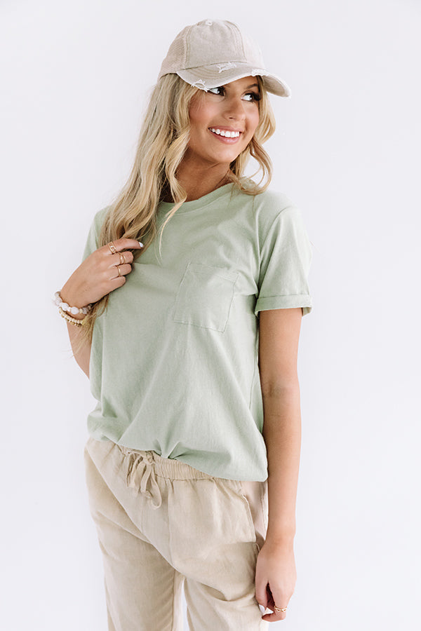 Keepin' It Casual Shift Tee in Light Sage