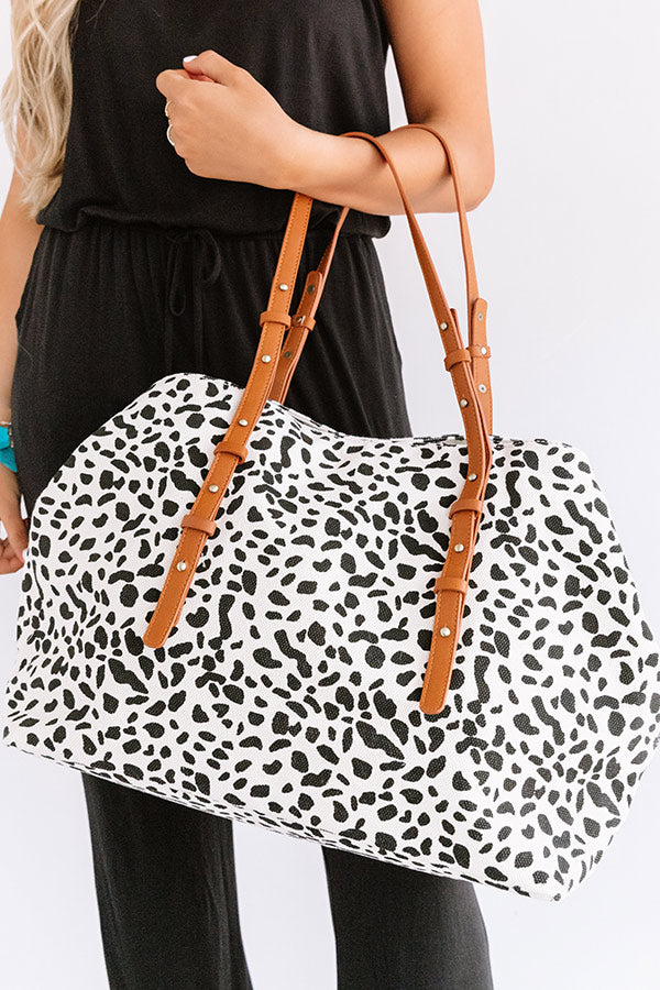 New Crush Canvas Leopard Tote In Ivory