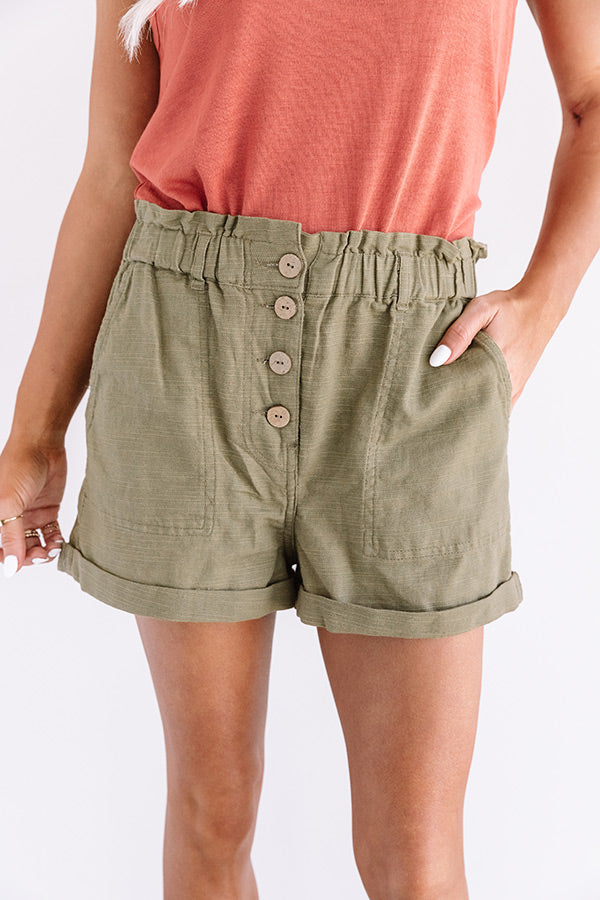 The Scout High Waist Shorts in Martini Olive