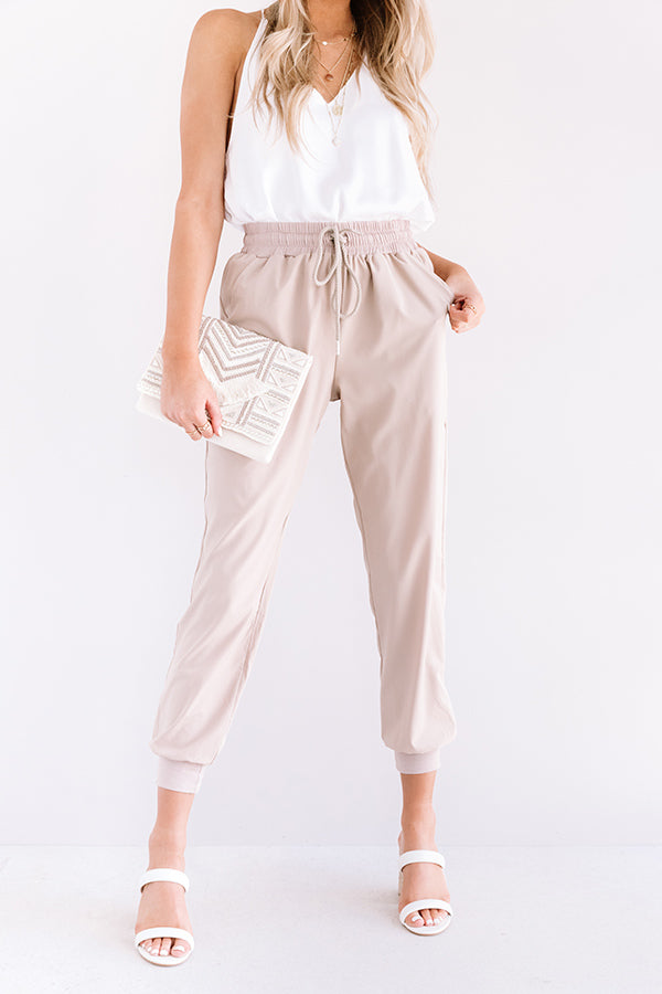 The Grove High Waist Joggers in Warm Taupe
