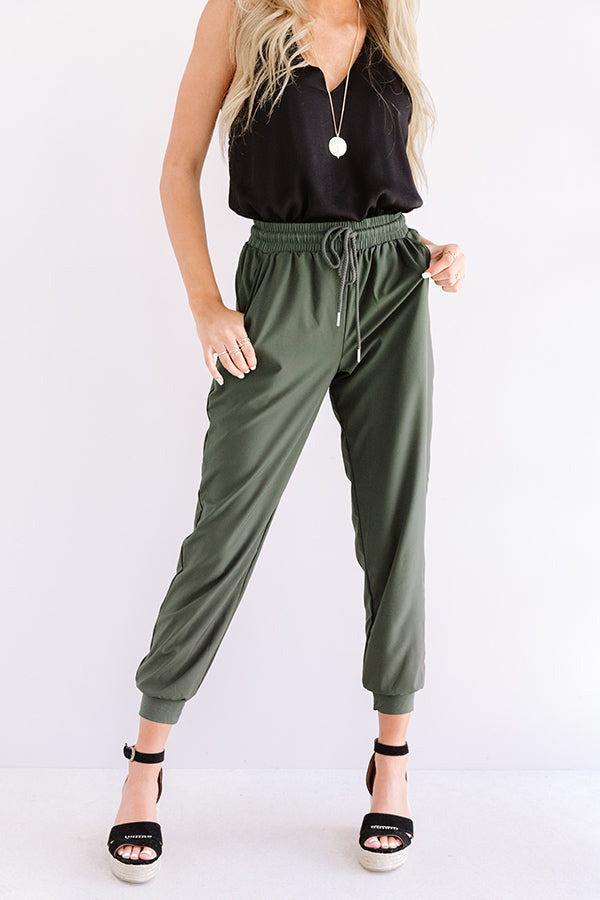 The Grove High Waist Joggers in Dark Olive