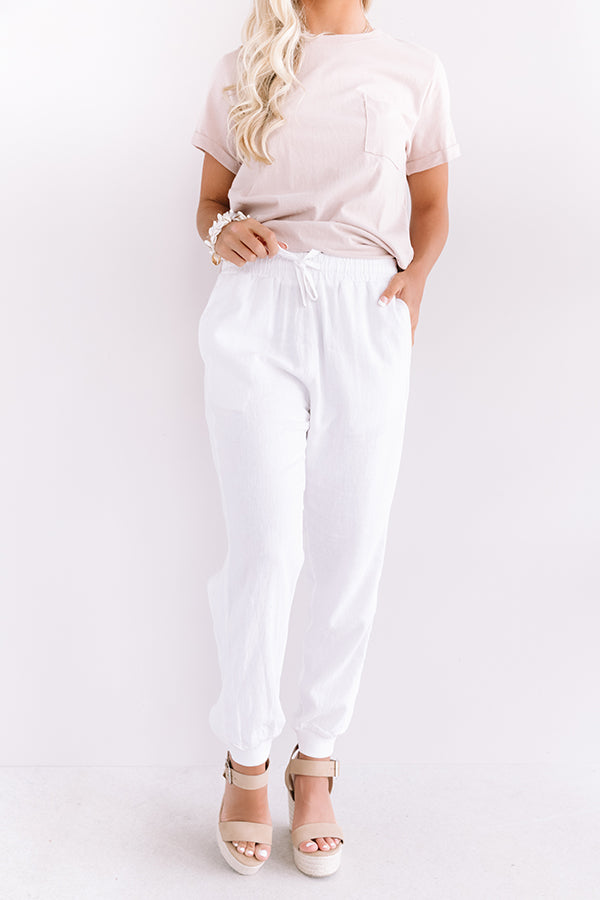 The Puesto High Waist Joggers In White