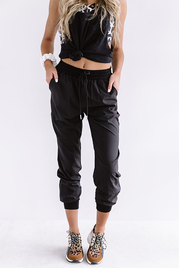 The Grove High Waist Joggers in Black