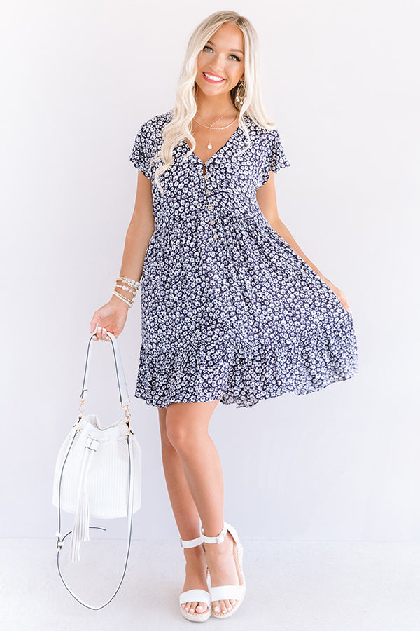 Joy For Days Floral Babydoll Dress in Navy