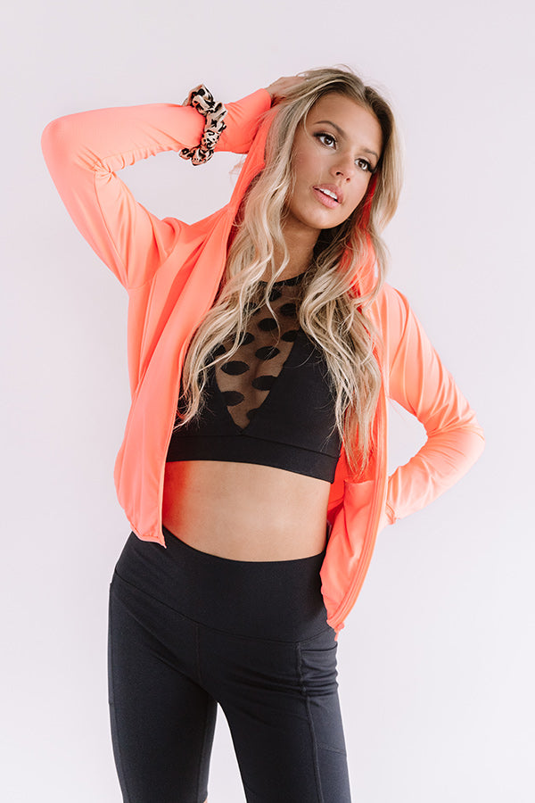 Iced Coffee Run Active Jacket in Neon Coral