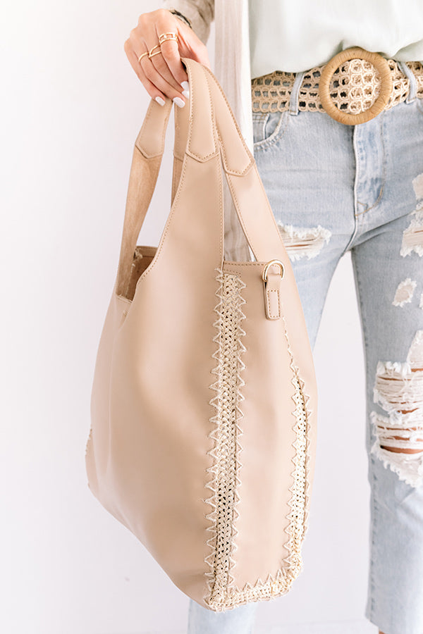 Cambridge Kisses Faux Leather Tote In Iced Latte