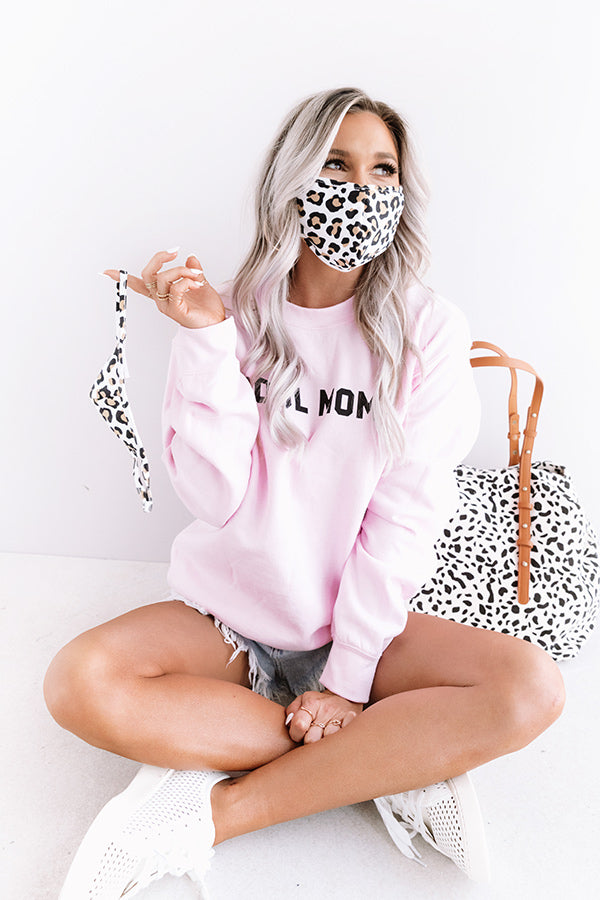 Solo Trip Cloth Face Mask in White Leopard Print