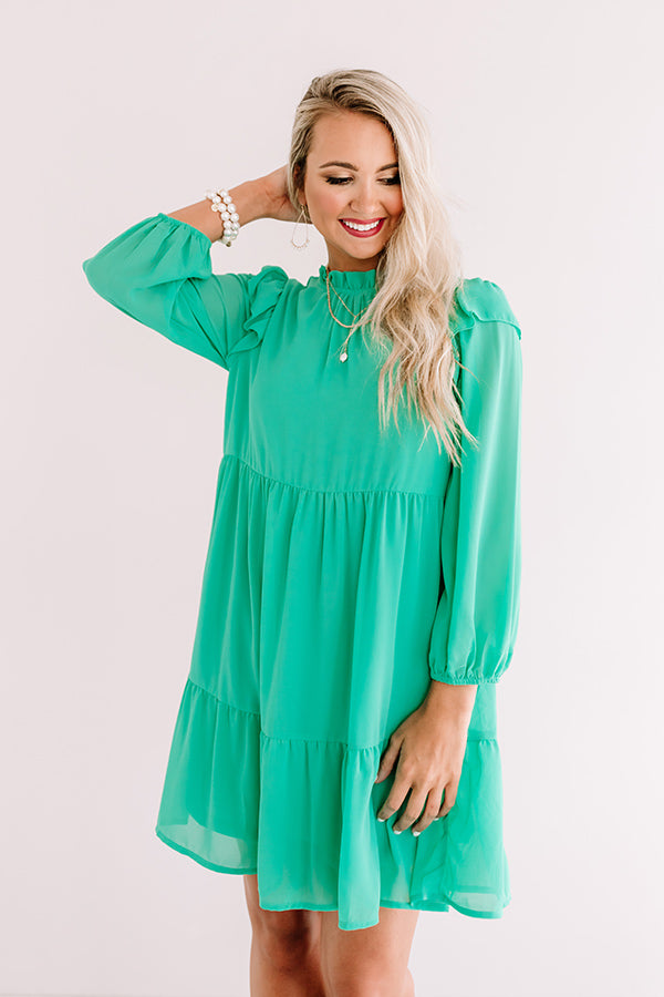 Romantic History Shift Dress In Kelly Green