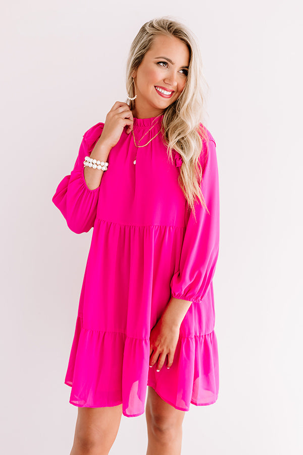 Romantic History Shift Dress In Hot Pink