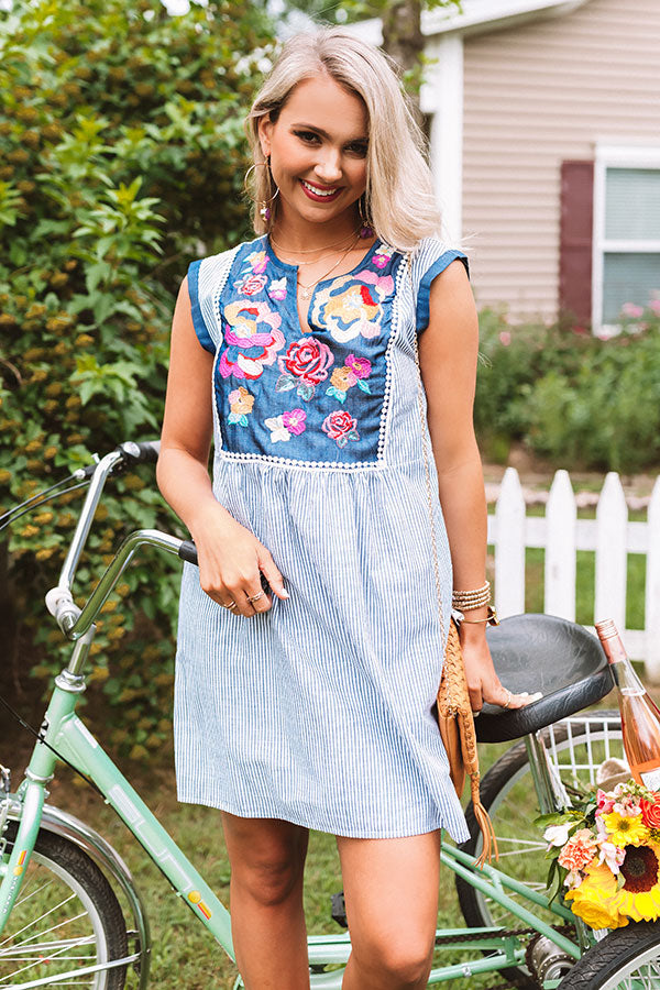 Wild Flower Embroidered Shift Dress In Navy