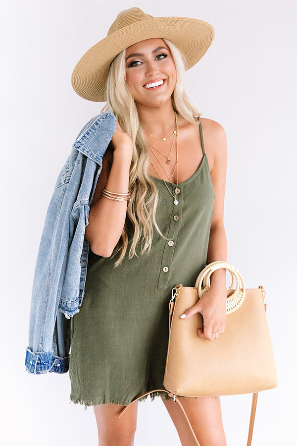 Beach Weather Frayed Romper in Olive