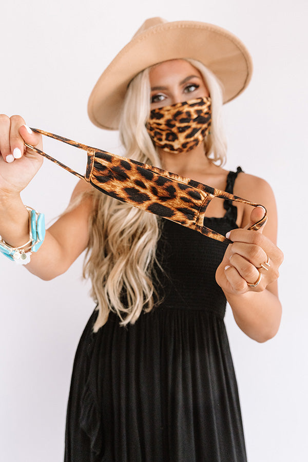 Solo Trip Children's Cloth Face Mask in Brown Leopard Print