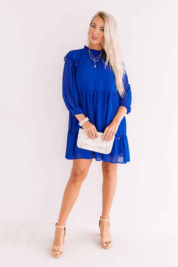 Romantic History Shift Dress In Royal Blue