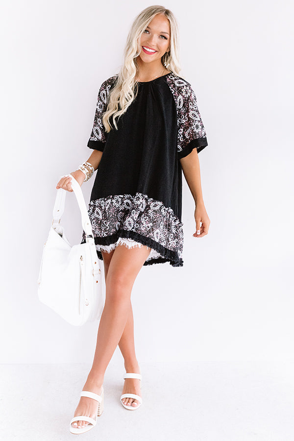 Parisian Party Shift Tunic Dress in Black