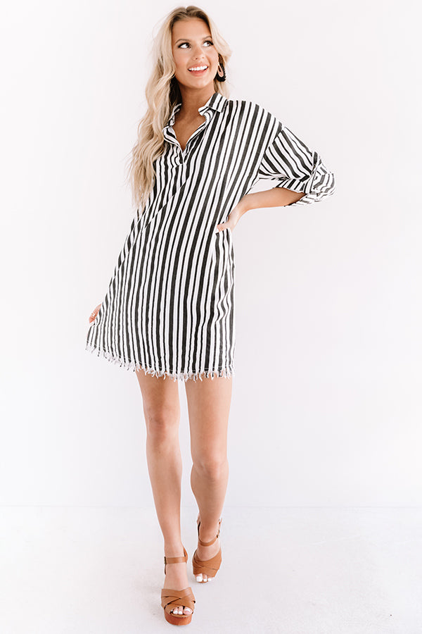 Malibu Wishes Stripe Dress In Black