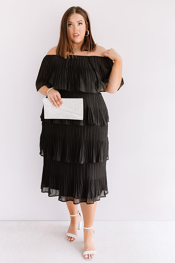 Top Of The World Tiered Dress In Black