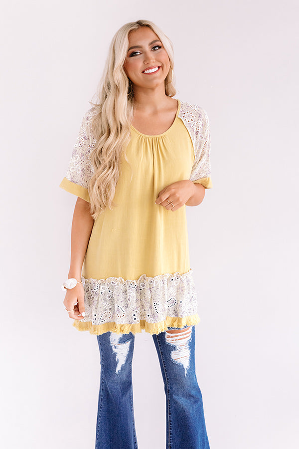Parisian Party Shift Tunic Dress in Yellow