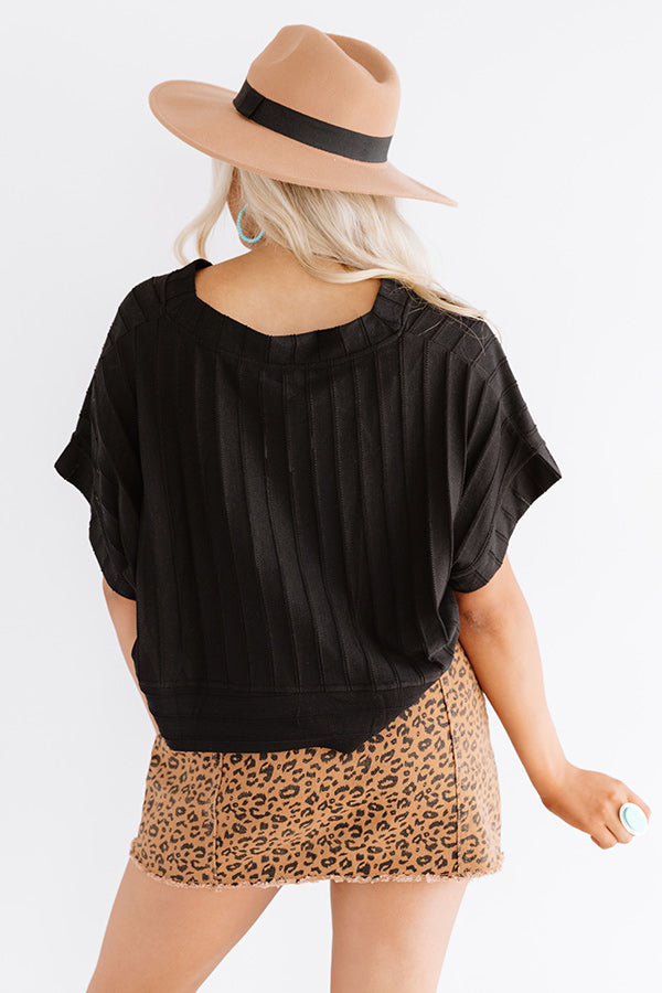 Wisteria Wishes Crop Top In Black