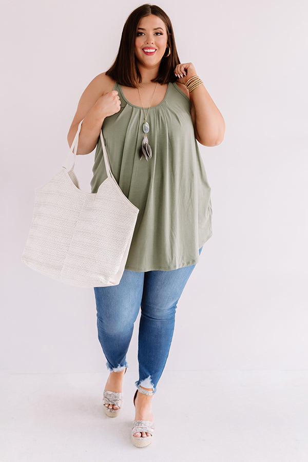 Free Flowing Shift Tank in Army Green