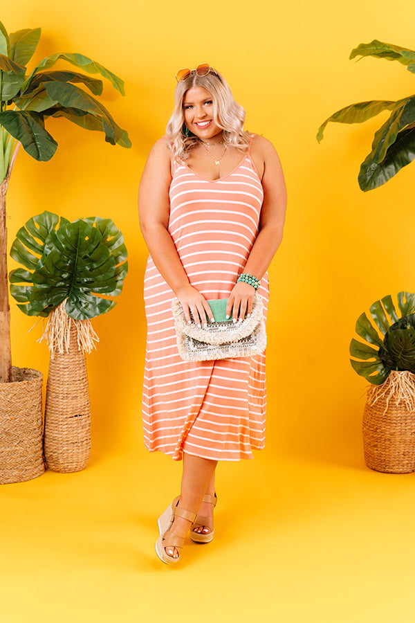 Stripe On Midi Dress In Coral