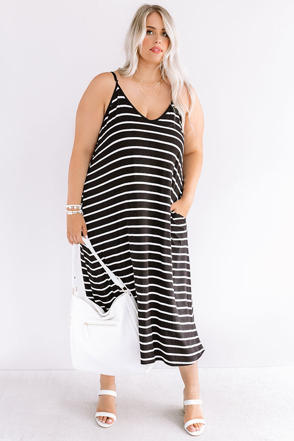Stripe On Midi Dress In Black
