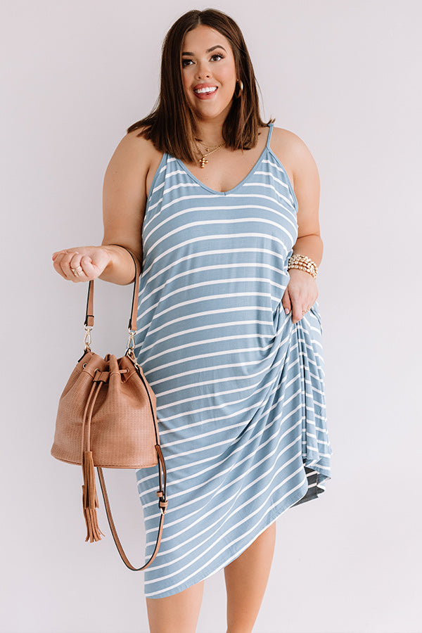 Stripe On Midi Dress In Airy Blue