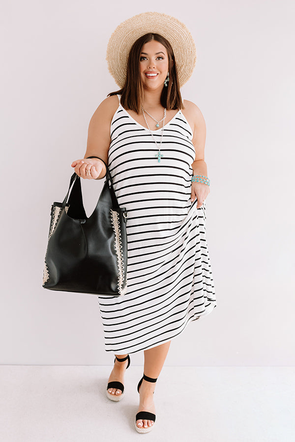 Stripe On Midi Dress In White