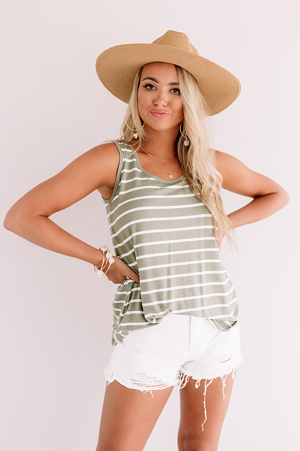 Sweeter In Stripes Shift Tank In Sage