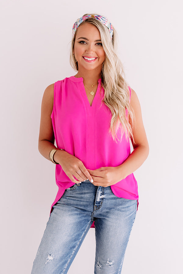 Riverside Romance Shift Top In Hot Pink