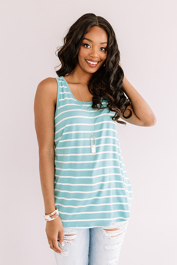 Sweeter In Stripes Shift Tank In Light Turquoise