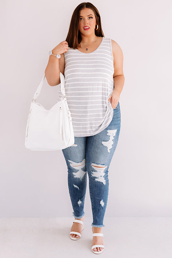 Sweeter In Stripes Shift Tank In Grey