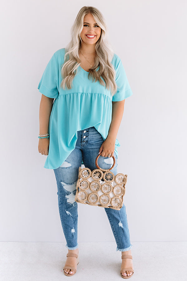 Downtown Brooklyn Babydoll Top In Turquoise
