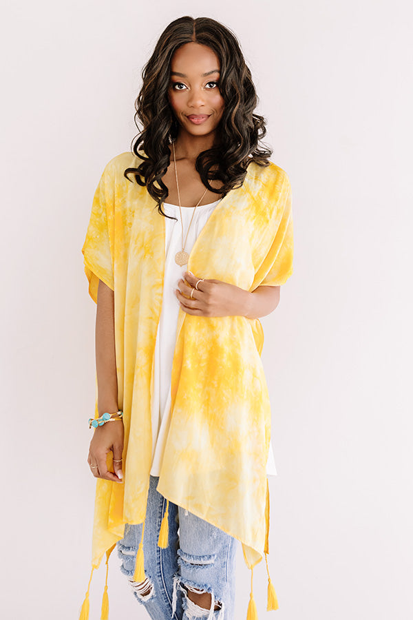 Relaxing Poolside Tie Dye Overlay In Yellow