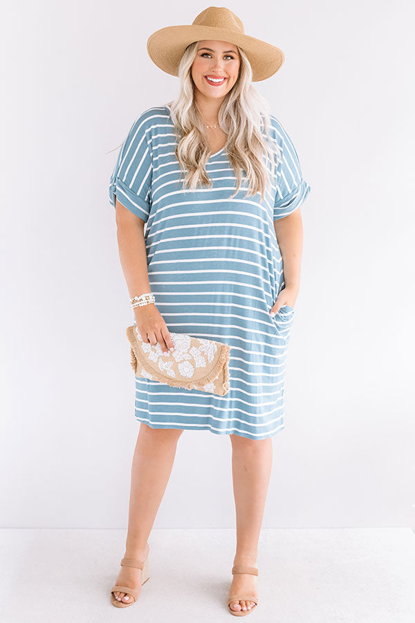 Kisses And Stripes Dress In Airy Blue