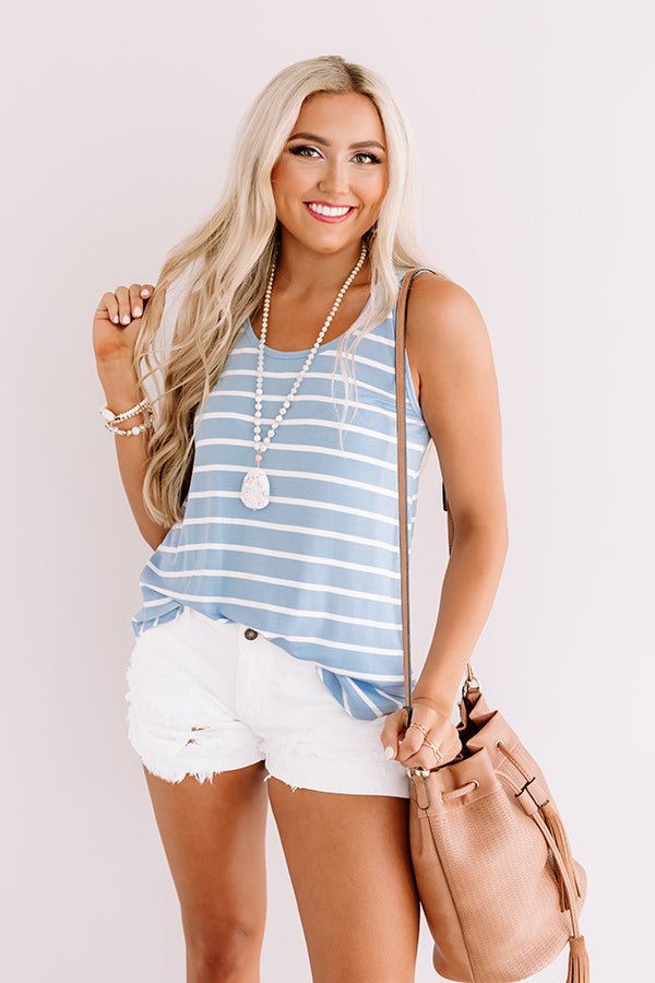 Sweeter In Stripes Shift Tank In Sky Blue